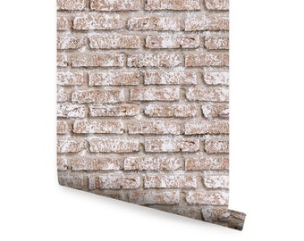 Whitewashed Vintage Brick Self Adhesive Fabric Wallpaper Repositionable