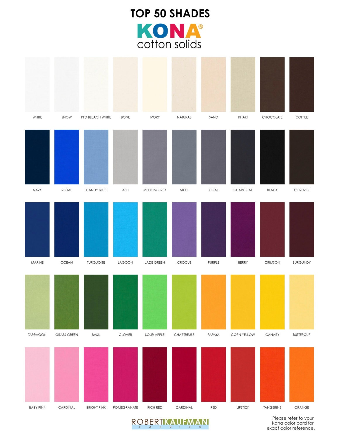 2016 kona color card kona swatches 303 colors included quilting 675 shipping nvjuhfo Images