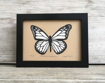 Monarch Butterfly Linocut Print - Monochrome