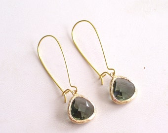 Grey Gold Earrings, Gray Glass Earrings, Minimalist Earrings, Bridal Earrings, Gray Gold, Everyday Earrings, Gift For Her, Simple Earrings
