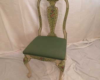 Hand Painted JANE KELTNER Design Queen Anne Side Chair With Upholstered Seat