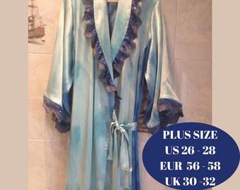 Plus size Bathrobe, Plus Size women's  luxury atlas Bathrobe,  women's  satin robe, Plus size azure  silk robe,  atlas Bathrobe with lace