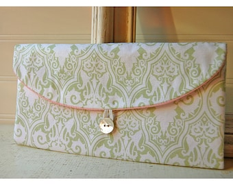 green Bridesmaids Clutch purse sage green damask geometric Bridal Wedding Shabby chic bag Gift Giving Make Up Travel Gadget ,Gift Under 25