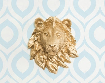 Mini Lion Head by Wall Charmers Faux Taxidermy (2-Day Shipping)| Faux Lion Head Wall Mount|Animal Head Nursery Wall Decor|Gallery Wall Decor