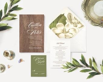 REAL WOOD Wedding Invitation | Magnolia Envelope Liner | Rustic Elegant Wedding Invitations | Printed on Wood White Ink Printing | RENADA