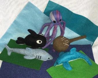 Needle Felted Wool Mobile Sea Animals Shark Dolphin Horseshoe Crab Orca Octopus Felt Toys Handmade