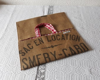 Pie bag in Burlap bag old grain lined Plaid red and white