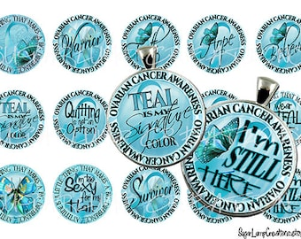 Ovarian Cancer Awareness Group 3  1 inch circle Tags, Stickers, Bottle cap Tops