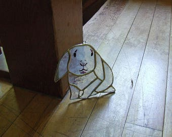 Stained Glass French Lop Rabbit - Cartoon Lop Eared Bunny Suncatcher - Whimsical Rabbit Sun Catcher Gift