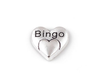Silver Heart Floating Charms, Bingo Floating Charms, Bingo Memory Locket Charms, Bingo Floating Locket Charm