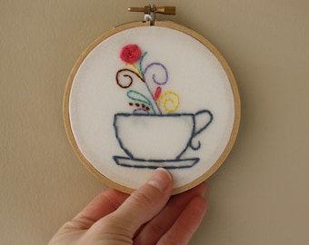 Floral Mug Embroidery Hoop // Coffee Mug Wall Art // Tea Cup Wall Art // Gift for Coffee Lover // Tea Gift // 4 inch hoop