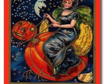 A Joyful Halloween Witch Vintage REPRO Postcard R203862