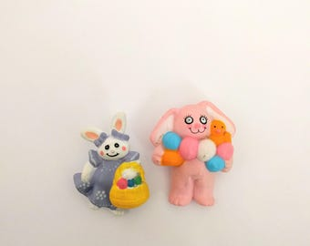 Vintage Easter Bunny pin lot white pink rabbit eggs basket novelty lapel brooch