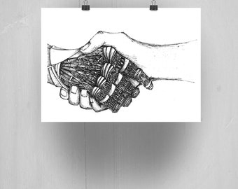 Hand Study, Giclee art print. A5, Original drawing, Original art, Handmade drawing, Ink drawing, Abstract art, Pen drawing, Surreal art