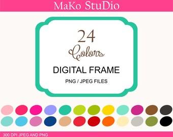 rectangle Digital frames, frame clip art, 24 digital frames clip art, Personal or Commercial Use