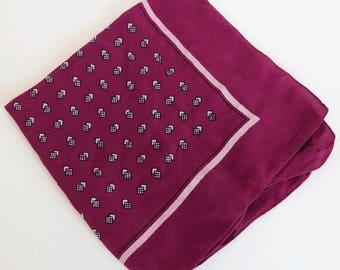Vintage Man's Handkerchief - Maroon Burgundy Geometric Design Handkerchief