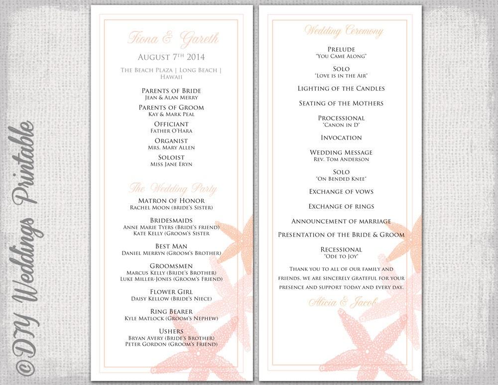Brand-new Beach Wedding program template Coral Starfish QD82