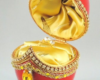 Red Engagement Ring Box, Red Presentation Box, Wedding Ring Box, Jewelry Box, Gift Idea for Women, Faberge Decorated Egg