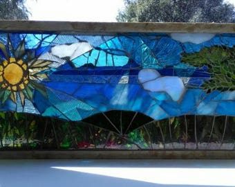 Stained glass mosaic Landscape View Two sided design window blue green