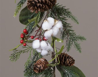 Holiday Garland with Cotton, Pine Cones and Red Berries