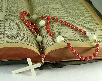 Red Wooden and Carved Bone Rosary with an Ivory Cross - Renaissance