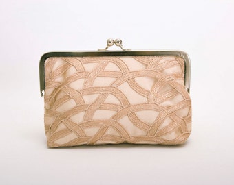 Big Sale - Tan frame purse clutch with  lace ,bridesmaid clutches ,bridal clutch ,bridesmaid gift,SILVER FRAME purse
