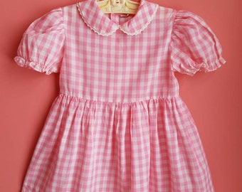 Vintage Classic Toddler Girls Dress by Nannette * Pink Cotton Gingham * Puffed Sleeves * Baby Dress * Easter Dress * Size 5 * Size 4