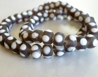 brown and white lampwork beads, lampwork beads, 15 x 11mm beads, brown beads, handmade beads