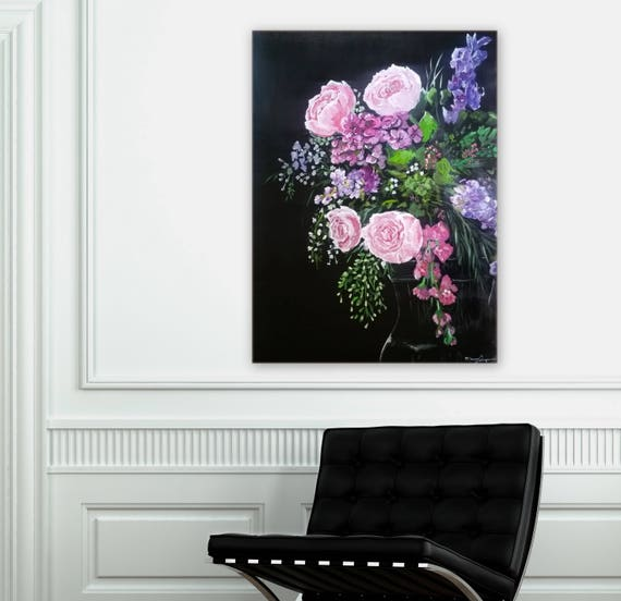 SampleFloral painting black background Marcy Chapman pink roses, lilacs, chrysanthemum, beautiful painting Custom order an original painting