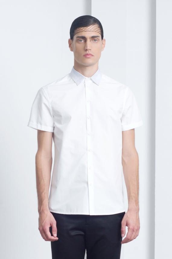 Mens shirt Mens white short sleeve dress shirt Mens button up