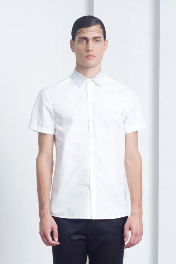 Mens white short sleeve dress shirts