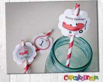 Airplane Birthday, Paper Straws, Straw Tag