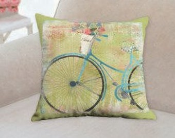 Blue Bicycle Designer Pillow