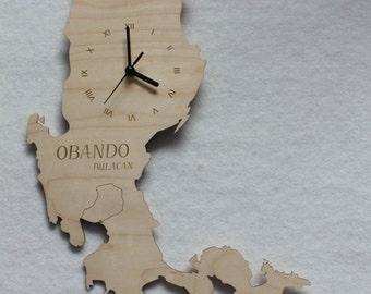 Custom Unique  Luzon from Philippines Maps Wooden Clock