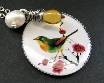 Song Bird Necklace. Yellow and Green Bird Necklace with Amber Teardrop and Fresh Water Pearl. Handmade Jewelry.