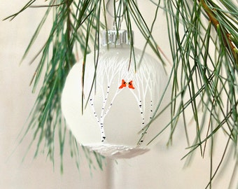 Wedding Ornament Winter Wedding Favors First Christmas ornament birch tree cardinal ornament white christmas hand painted ornament