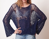 Blue sweater, slouchy loose knit, cotton top, hippie clothing, long sleeves distressed womens summer blouse, sexy clothes, fashion gifts