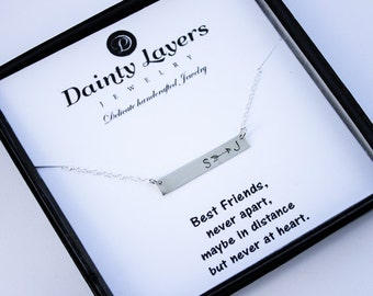 Gift for Bestfriend / BFF Necklace / Personalized Friendship Jewelry / Best Friends Forever Never Apart / Distance Friendship / Bar Necklace