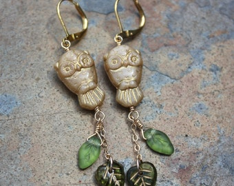 Golden Owl and Leaves earrings - wonderful gold-washed Czech glass owl with tiny olivine green  glass leaves - free shipping USA