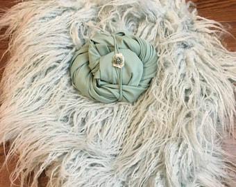 Flokati Faux Fur Misty Mint, Italian Jersey Wrap & Tieback Set   - Newborn Photo Prop, Faux Fur. Prop, Tieback, Headband, Jersey