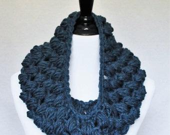 Blue Crochet Cowl, Navy Blue Puff Stitch, Chunky Crochet Cowl, Bobble Neck Warmer, Infinity Scarf - Giant Bobble, Denim Blue
