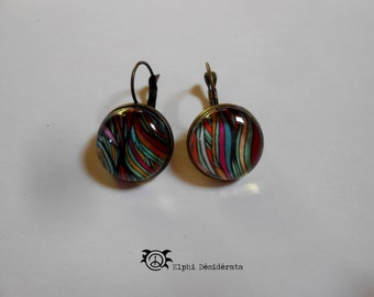 Earring cabochon, abstract pattern, Bohemian style