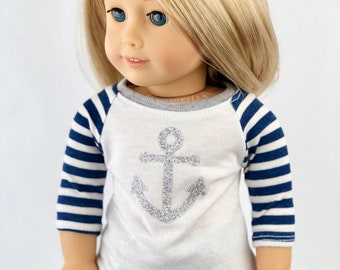 18 Inch Doll American Made Clothes | Glittery Silver Anchor Graphic 3/4 Stripe Sleeve BASEBALL TEE for 18 Inch Doll