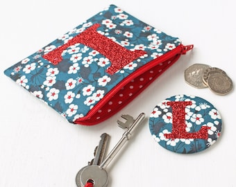 Liberty glitter initial purse and mirror set - gift for girl - gift for flower girl - bridesmaid gift - Liberty of London