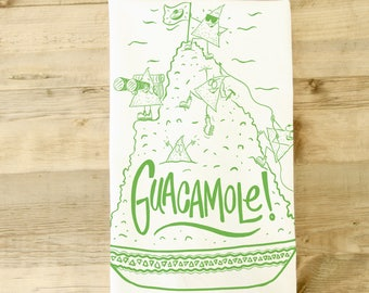 Guacamole tea towel - kitchen towel - Avocado  -Mexican theme gift basket - funny kitchen towel - southwest theme - cute characters - guac