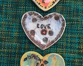 Ceramic hearts - hand built slabs - ring dishes - one of a kind - February 14 - 2014 anniversary memories