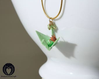Origami crane pendant, origami crane necklace with 14K gold on 925 sterling silver chain - Pastel green mom and beige baby cranes