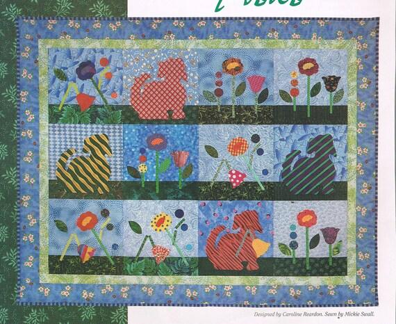 Dog & Garden Block Quilt Sewing Pattern Flower Quilt Pattern