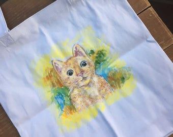 hand painted tote bag- white and yellow-cat-kitten-personalized canvas tote-unique design