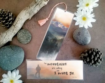 The Mountains Are Calling Bookmark - Handmade